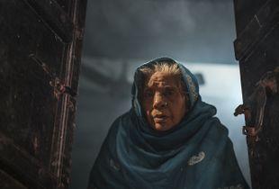 Woman in temple doorway