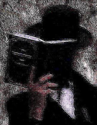Haredi Man, Face in Religious Book