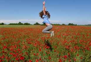 Jumping into poppies