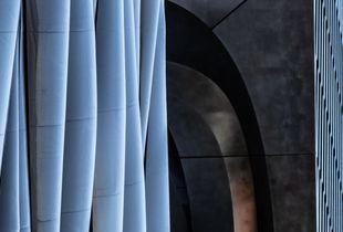 Blue columns with orange arch
