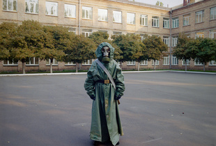 Gas Mask. Military boarding school, Ukraine, 2015. © Michal Chelbin