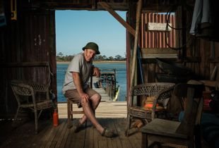 Jeff in his boat shed.