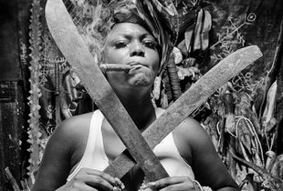 Cuban palera with  machete