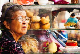 Grandma peddling in Vietnam
