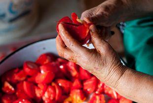 Preparing Pink Tomatoes