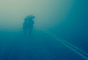 pilgrims in the fog