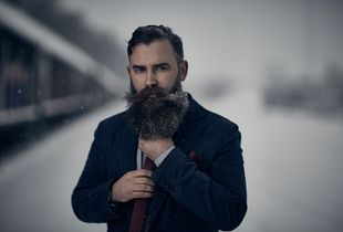 Portrait of a Bearded Man in the snow