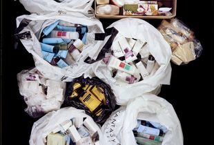 Two hundred and five toiletries, stored