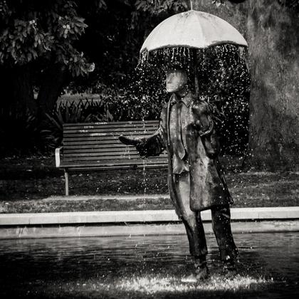 A Men with an Umbrela