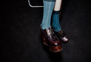 Blue Socks, Brown Shoes