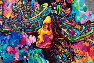 Multicolored mural in Los Angeles, California