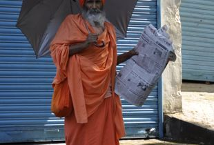 Morning readings in Rishikesh