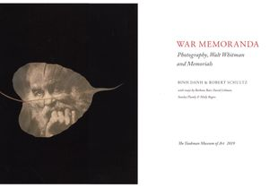 Title page spread of War Memoranda book by Binh Danh and Robert Schultz with guest essays by Library of Congress historian Barbara Bair, scholar Molly Rogers, and poets David Lehman and Stanley Plumly.