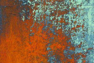 "Orange on Grey, 2020.   50 x 50"" digital C-Print on aluminium dibond with acrylic glass surface."