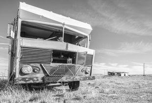 Dead motorhome in a uranium ghost town