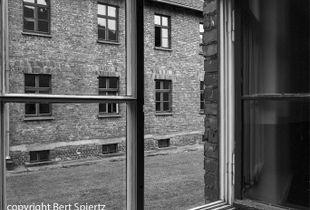 Auschwitz, view through a window in a barrack