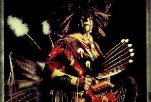 #1, German powwow dancer, Portrait taken at the local powwow convention, bleach Fuji Fp100c, negative scan, Kladno, Czech Rep. 2015
