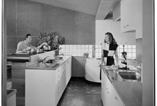 "Kitchen, George Turner residence, La Canada Flintridge, California, c. 1947. From the photobook ""Modern Photography and the American Dream"" © Maynard Parker"