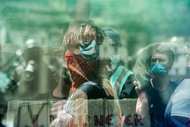 Black Lives Matter Supporters. Trafalgar Square.