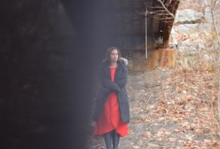 Girl in the Red Dress (winter under the bridge)