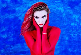 RED on BLUE, self-portrait