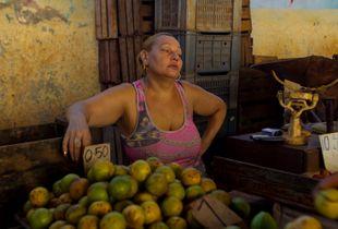 Fruit vendor in a Havana market