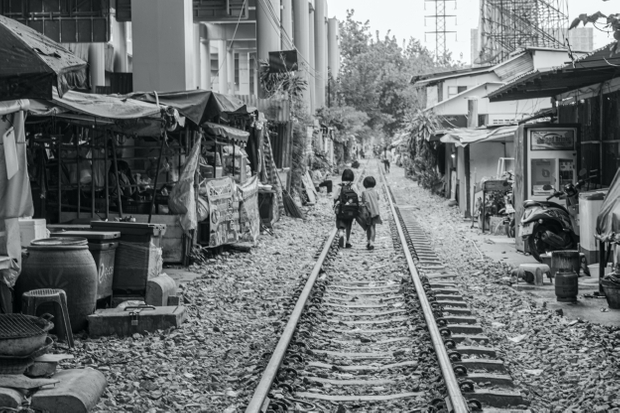 School Children walking home in Bangkok