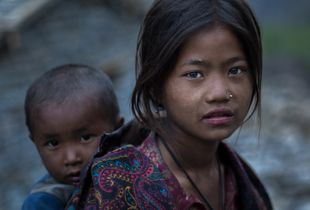 Nepali girl and brother