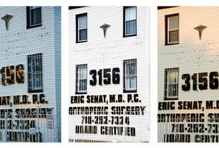 Facades 1-3, Northwest View, 8.5.15, 6:28am; 7.14.15, 2:08pm; 7.28.15, 7:39pm, 2015, Pigment prints, 23.25 x 15.5 inches (each), 23.25 x 46.5 inches (triptych)