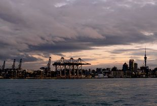 Ragged Cloud over Auckland Port and City
