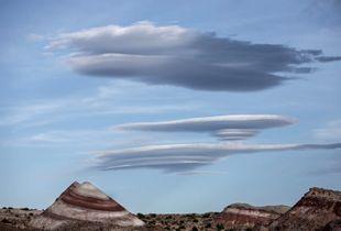 Lenticular clouds, Bentonite Hills,Capitol Reef National Park Utah, USA