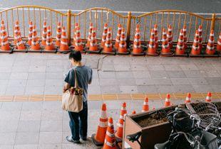 Man waiting next to Ueno Park