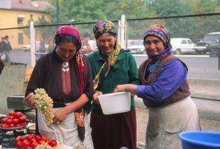 Tashkent Farmer's Market: Ladies vending fruit and vegetables