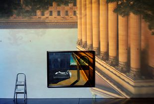 Camera Obscura Image of The Philadelphia Museum of Art East Entrance in Gallery #171 with a DeChirico Painting, 2005 © Abelardo Morell