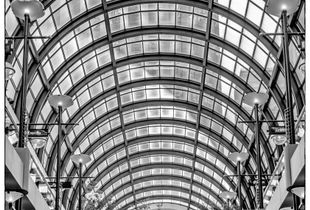 The view through the roof of the Crocker Galleria, San Francisco, CA