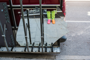 The shoes and the glass truck.