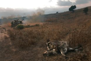 An Israeli artillery battery, deployed in the Golan Heights, fires towards southern Lebanon, at the start of the Second Lebanon War. 2006