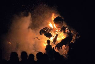 Burning effigy of David Cameron, Cliffe Bonfire Society, Lewes, Sussex