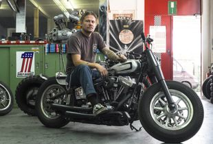 Martin on one of his motorcycles