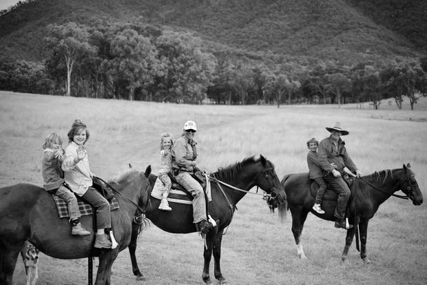 Preparing for work.                  Australian Bush life-Family series