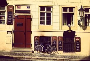 shadow, bicycle and Prague