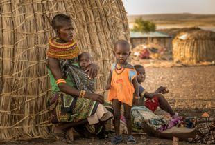 Late afternoon, El Molo tribe family, Lake Turkana, Kenya