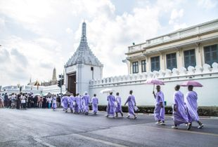 Monks Entering the Grand Palace. Bangkok, Thailand (4/2017)