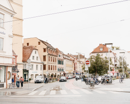 Morning Street in Graz downtown