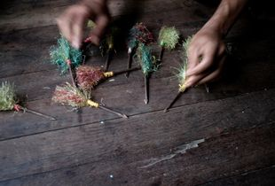 Sittwe, Myanmar, 2012. Jinglee, homemade projectiles. Made from sharpened and barbed nails, these projectiles are used by both Rakhine and Rohingya. They are fired at each other from catapults made of wood and rubber. © Spike Johnson