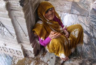 A portrait of a beggar in Jodhpur, India