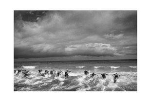 Paddleboard leg of the National Surf Lifesaving Titles. Scarborough Beach, Western Australia.