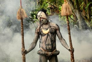 Ritual dance. Asaro village in Papua New Guinea