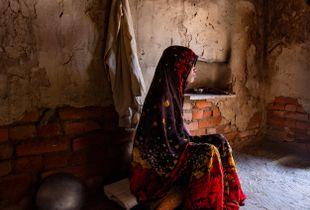 Joven invidente en la aldea de Ramnagar - India.