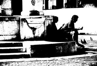 Father and son. Lunch in the street.